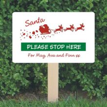 Personalised Santa Stop Here Sign - Sleigh Design